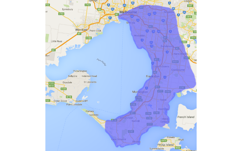 Service area map South Ease Melbourne